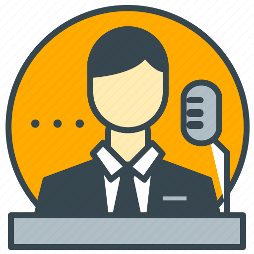 business, microphone, office, seminar, speech icon