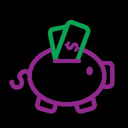 icons, money, money box, pig icon
