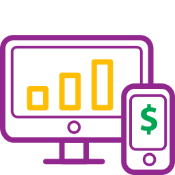 device, devices, diagram, graph, icons, money icon