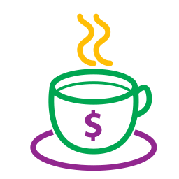 coffee, cup, icons, money, tea icon