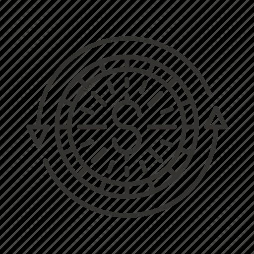 business, circulation, coin, dollar, money, rotate icon