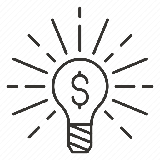 bulb, cost, electricity, eureka, idea, light, think icon