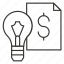 bulb, dollar, eureka, idea, light, think icon