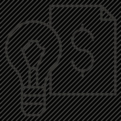 bulb, dollar, eureka, idea, light, think icon