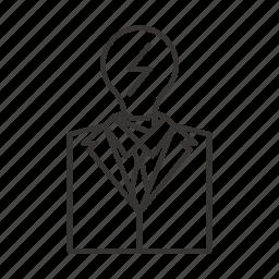 bulb, business, idea, light, man, suit, tie icon