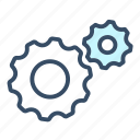 business, change, gear, improvement, proces, productivity, progress icon