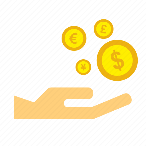 coins, currency, dollar, hand, holding, money, pay icon
