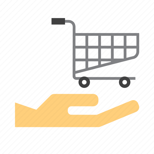 buy, cart, hand, holding, shop, shopping, trolley icon