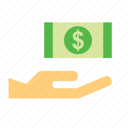 bill, currency, dollar, hand, holding, money, pay icon