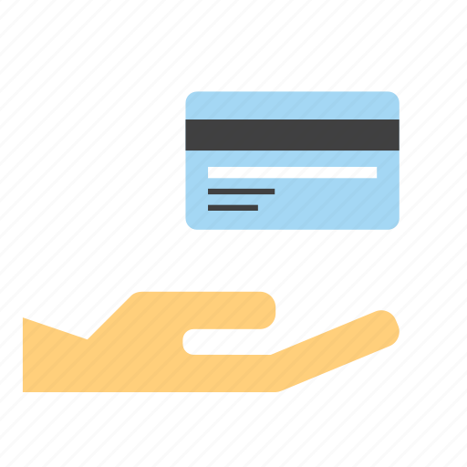 credit card, give, hand, holding, money, pay, shop icon