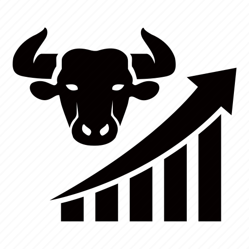 bull, economics, financial, growth, increasing, market, strong icon