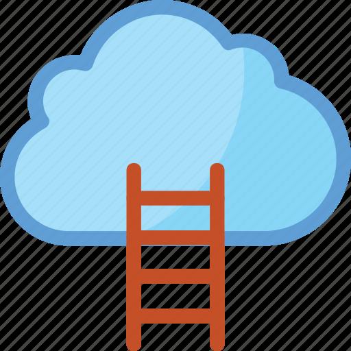 business, business achievement, career, cloud, cloud ladder icon