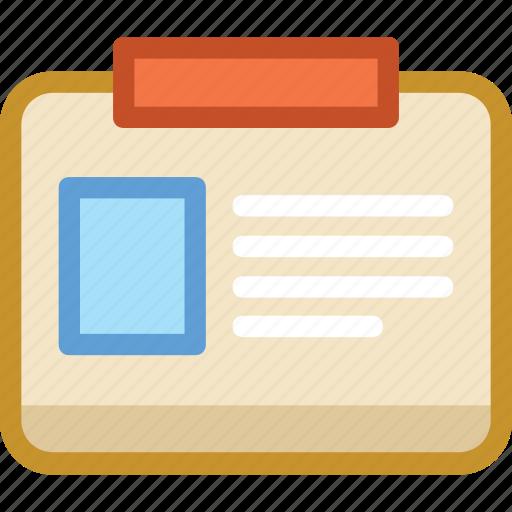 id card, identity card, profile, profile card, student card icon