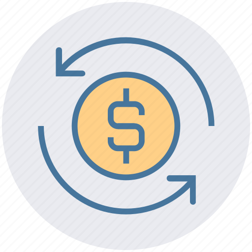 arrows, business, cash, coin, dollar sign, loading, sync icon