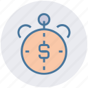dollar, measure, speed, stopwatch, timepiece, timer icon