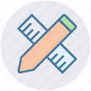 architecture ruler, drafting, office, pencil, pencil ruler, ruler icon