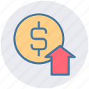 business, profit, dollar coin, dollar, up arrow, income, dollar value icon