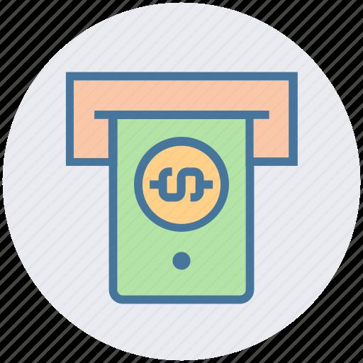 atm machine, banking, dollar, dollar note, machine, money, note icon