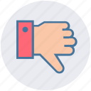 dislike, down, hand, thumb, thumbs down, vote icon