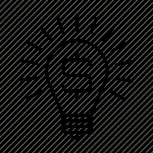 boulb, dollar, idea, lamp icon