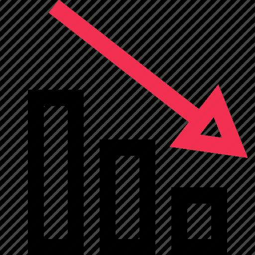 arrow, bars, data, down, graph, low icon