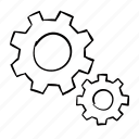 cog, cogs, cogwheel, function, functioning, handdrawn, machine, machinery, puzzle, wheel, working together icon