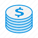 currency, finance, money, stack icon