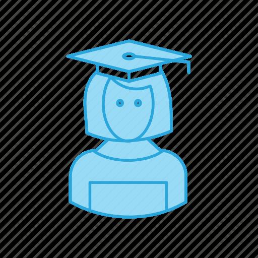 avatar, female, graduation, people, woman icon