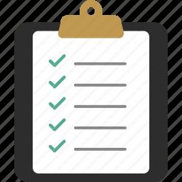 checklist, clipboard, document, page, paper icon