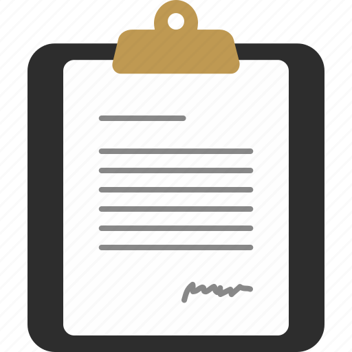 clipboard, document, letter, page, signature icon
