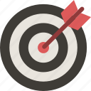 aim, archery, arrow, bullseye, dart, dartboard, target icon