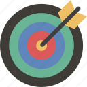 aim, arrow, bullseye, dartboard, focus, goal, target icon