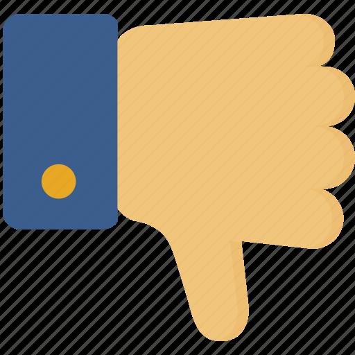dislike, down, gesture, hand, thumbs icon
