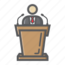business, candidate, conference, orator, podium, speaker, tribune icon