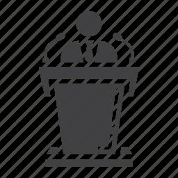 business, candidate, conference, orator, podium, speaker, tribune icon