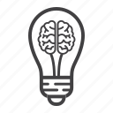 brain, bulb, business, creative, idea, lamp, light icon