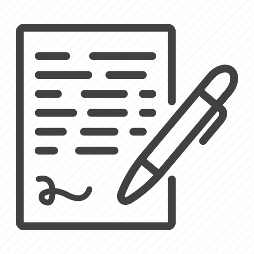 business, contract, document, paper, pen, sign, signature icon