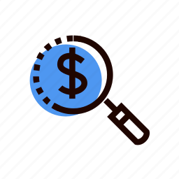 approximation, enlargement, grid, lens, magnifier, money, search icon