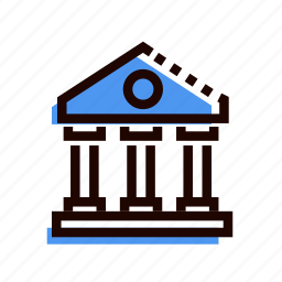 agency, architecture, bank, banking, building, grid icon