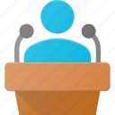 microphone, podium, politician, speaker, speech icon