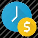 cash, clock, money, time, value icon