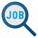 career, glass, job, magnifying, search icon