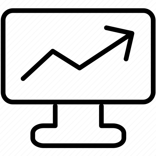 analytics, computer, graph, monitoring, report, screen icon