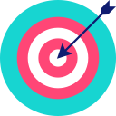aim, arrow, bullseye, purpose, strategy, target icon icon