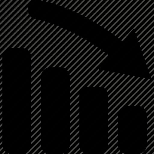 bar, chart, down icon