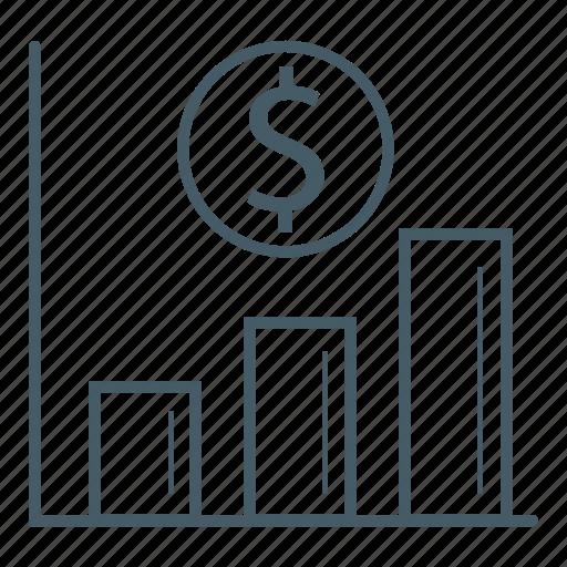 bar chart, business, dollar, office, progress icon