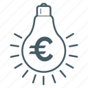 bulb, electric, energy, euro, generate icon