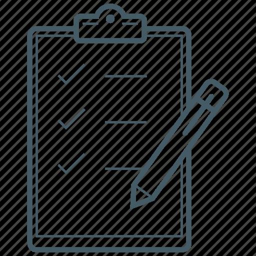 checklist, clipboard, pen, pencil, write icon