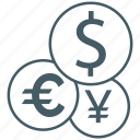 bank, currency, dollar, euro, exchange, money, yen icon