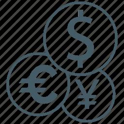 bank, currency, dollar, euro, exchange, money, yen icon